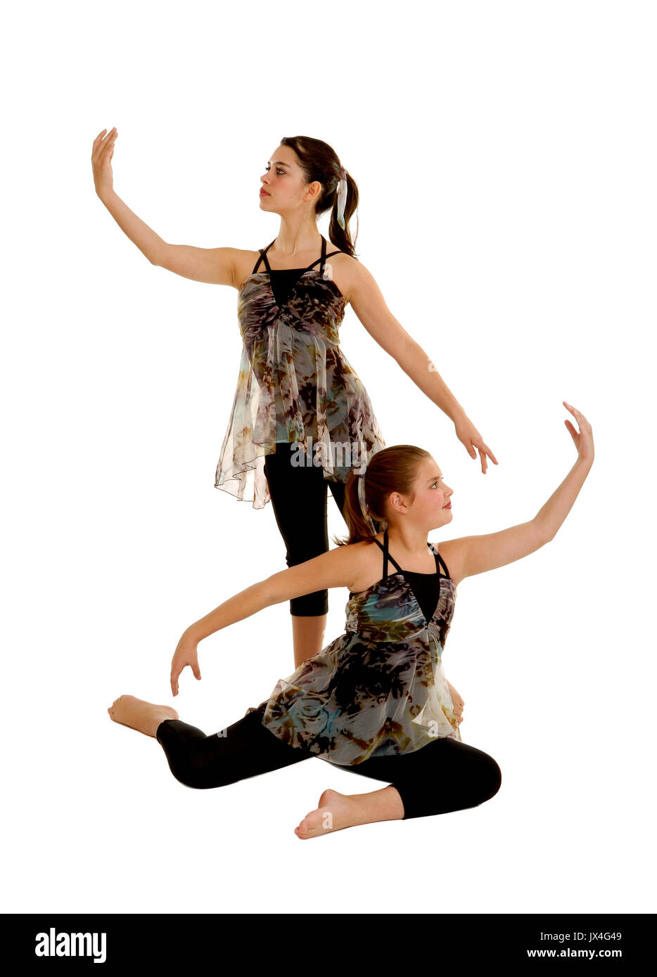 Two Lyrical Dancers in Costume for Performance Stock Photo