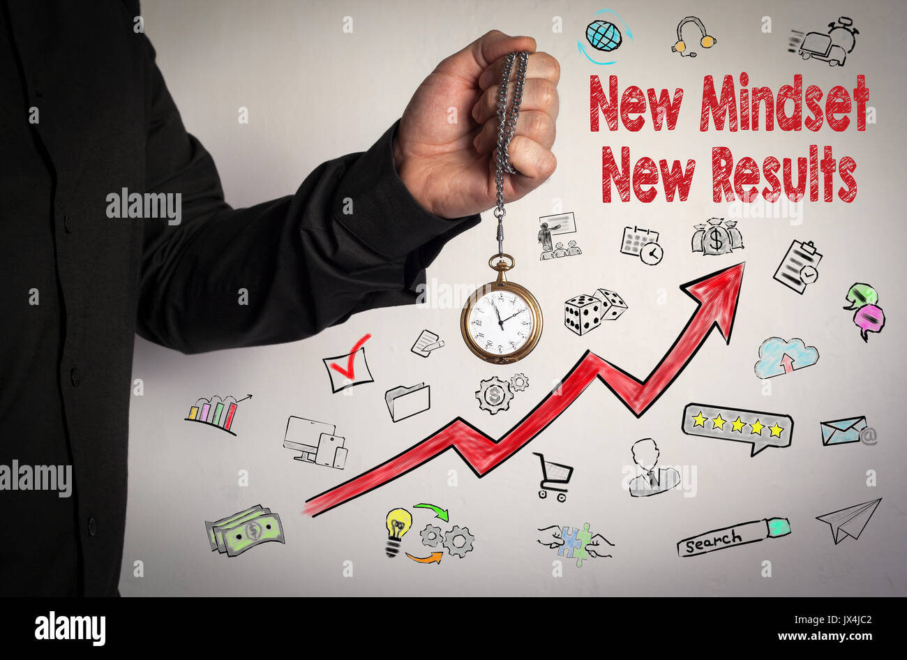 New Mindset New Results concept. Red Arrow and Icons Around. Man holding chain clock on white background. - Stock Image