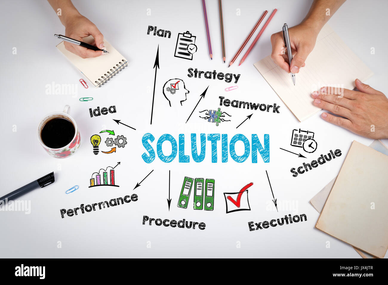 Solution Concept. The meeting at the white office table. - Stock Image