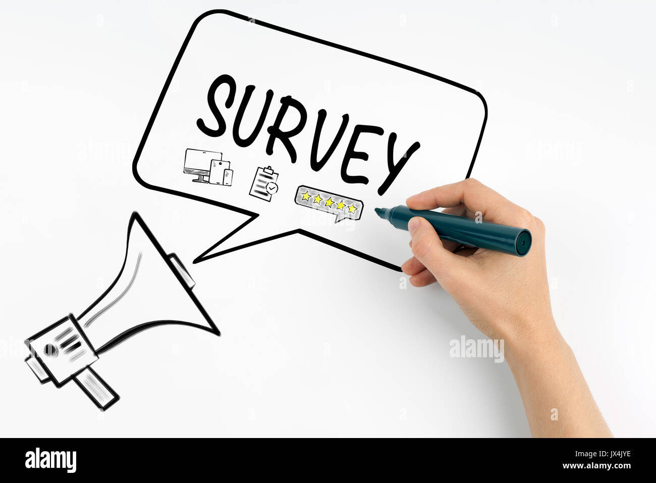 Survey concept. Megaphone and text on a white background. - Stock Image
