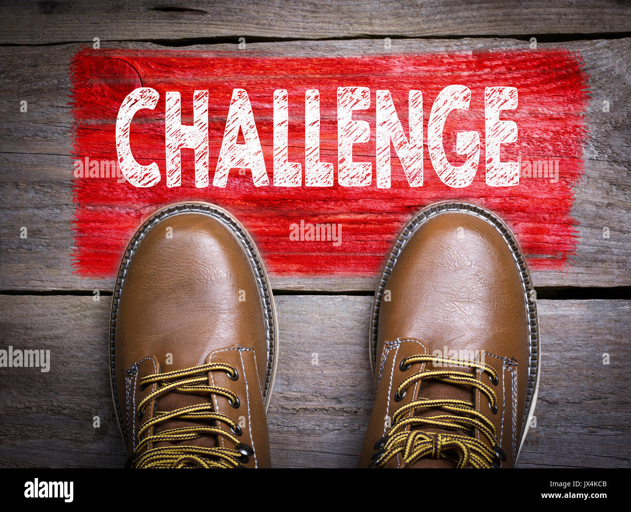 Challenge. Top View of Boot on wooden background. - Stock Image