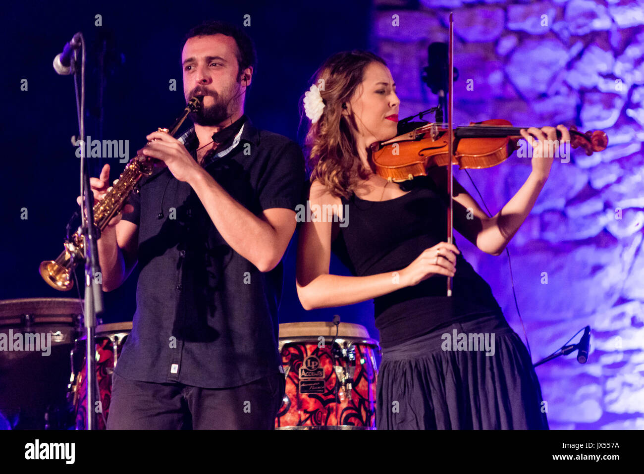 Casas de Reina, Spain - august 13, 2017: Spanish  folk band Acetre in the regina theater, - Stock Image