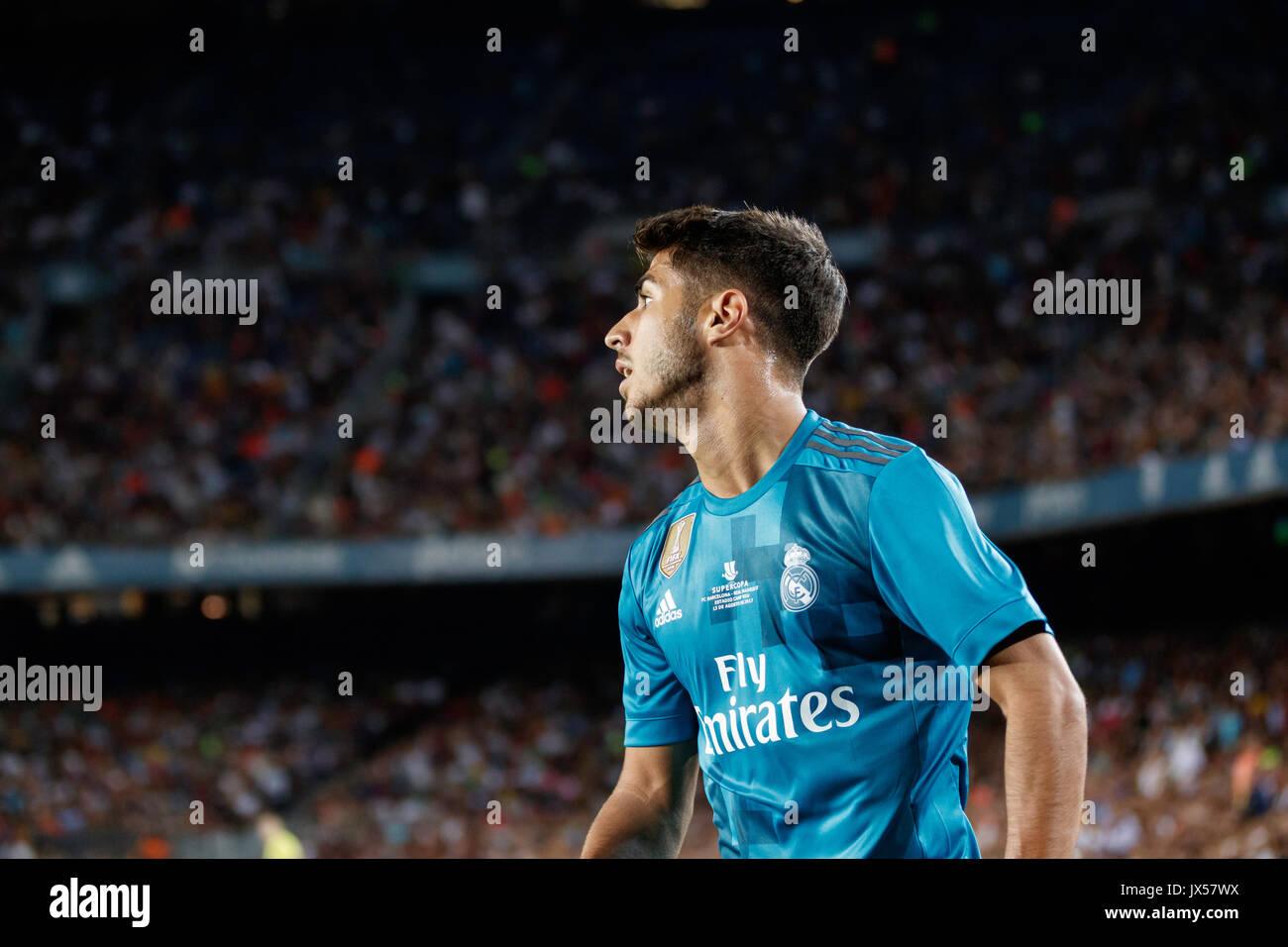 Camp Nou Stadium, Barcelona, Spain. 13th of August, 2017. Super Cup of Spain between FC Barcelona and Real Madrid. Asensio Credit: David Ramírez/Alamy Live News - Stock Image