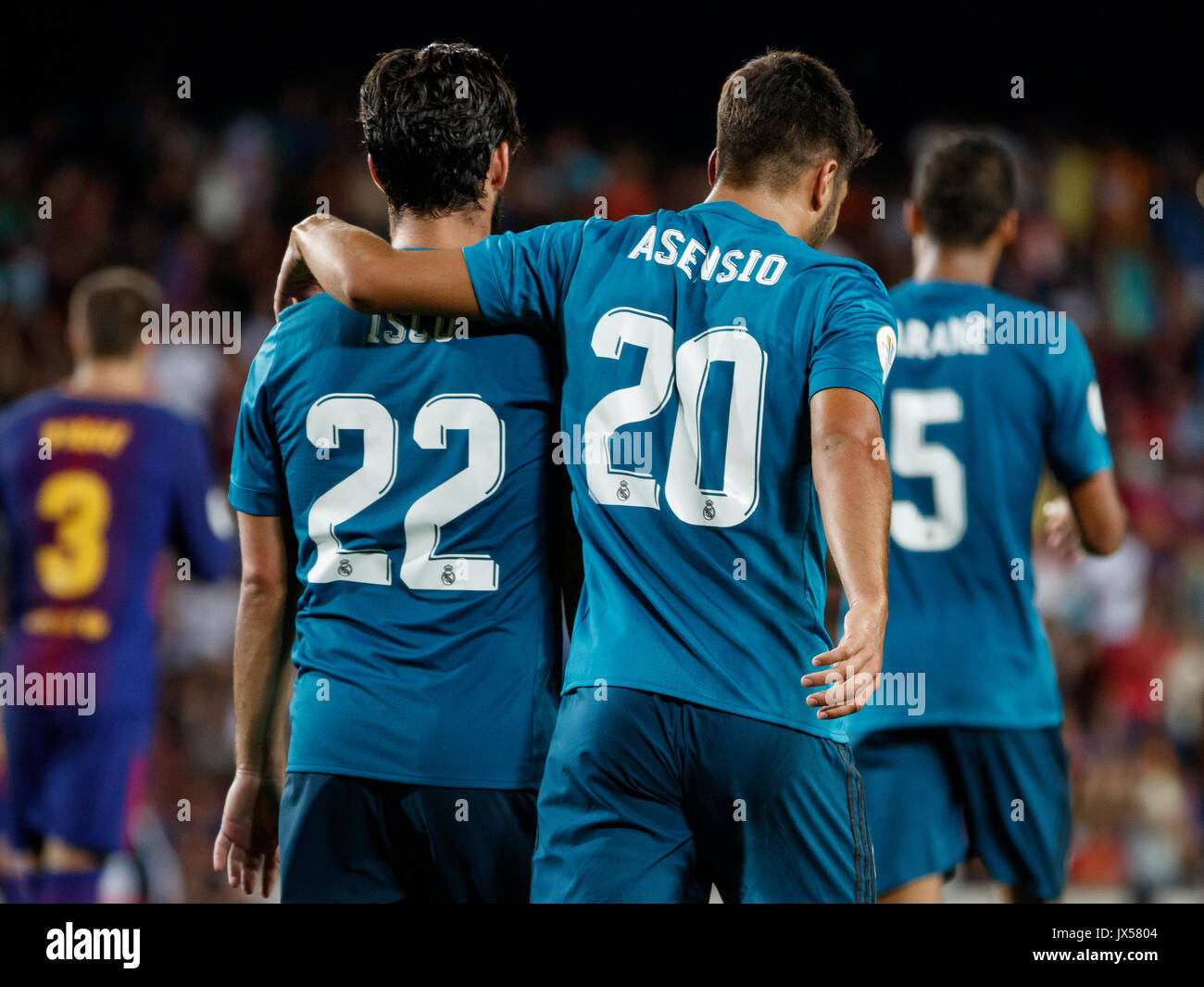 Camp Nou Stadium, Barcelona, Spain. 13th of August, 2017. Super Cup of Spain between FC Barcelona and Real Madrid. Asensio with Isco Credit: David Ramírez/Alamy Live News - Stock Image