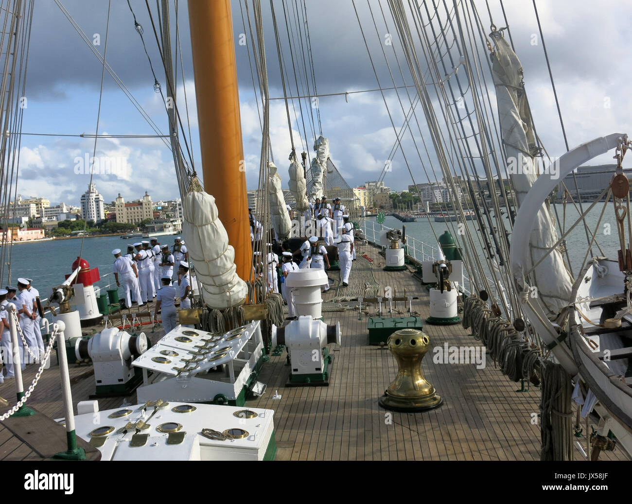 A view of the deck of the Chilean Army's training ship 'Esmeralda' in San Juan, Puerto Rico, 14 August 2017. The 'Esmeralda' arrived in San Juan de Puerto Rico as part of its 62nd training cruise. EFE/Alfonso Rodriguez - Stock Image