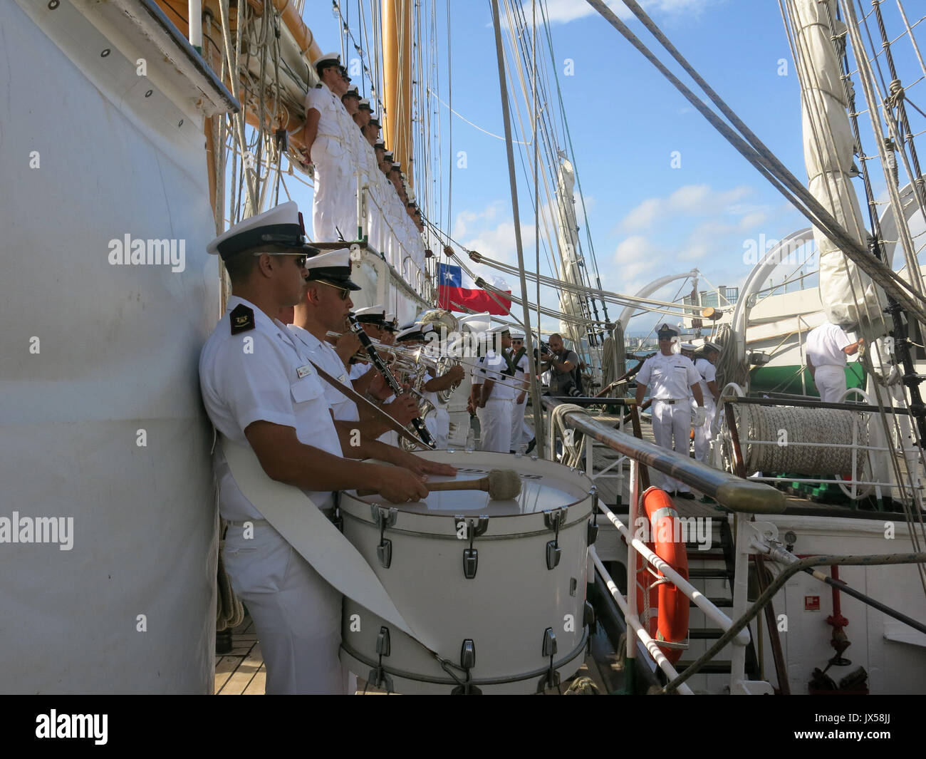 A view of the crew of the Chilean Army's training ship 'Esmeralda' in San Juan, Puerto Rico, 14 August 2017. The 'Esmeralda' arrived in San Juan de Puerto Rico as part of its 62nd training cruise. EFE/Alfonso Rodriguez - Stock Image
