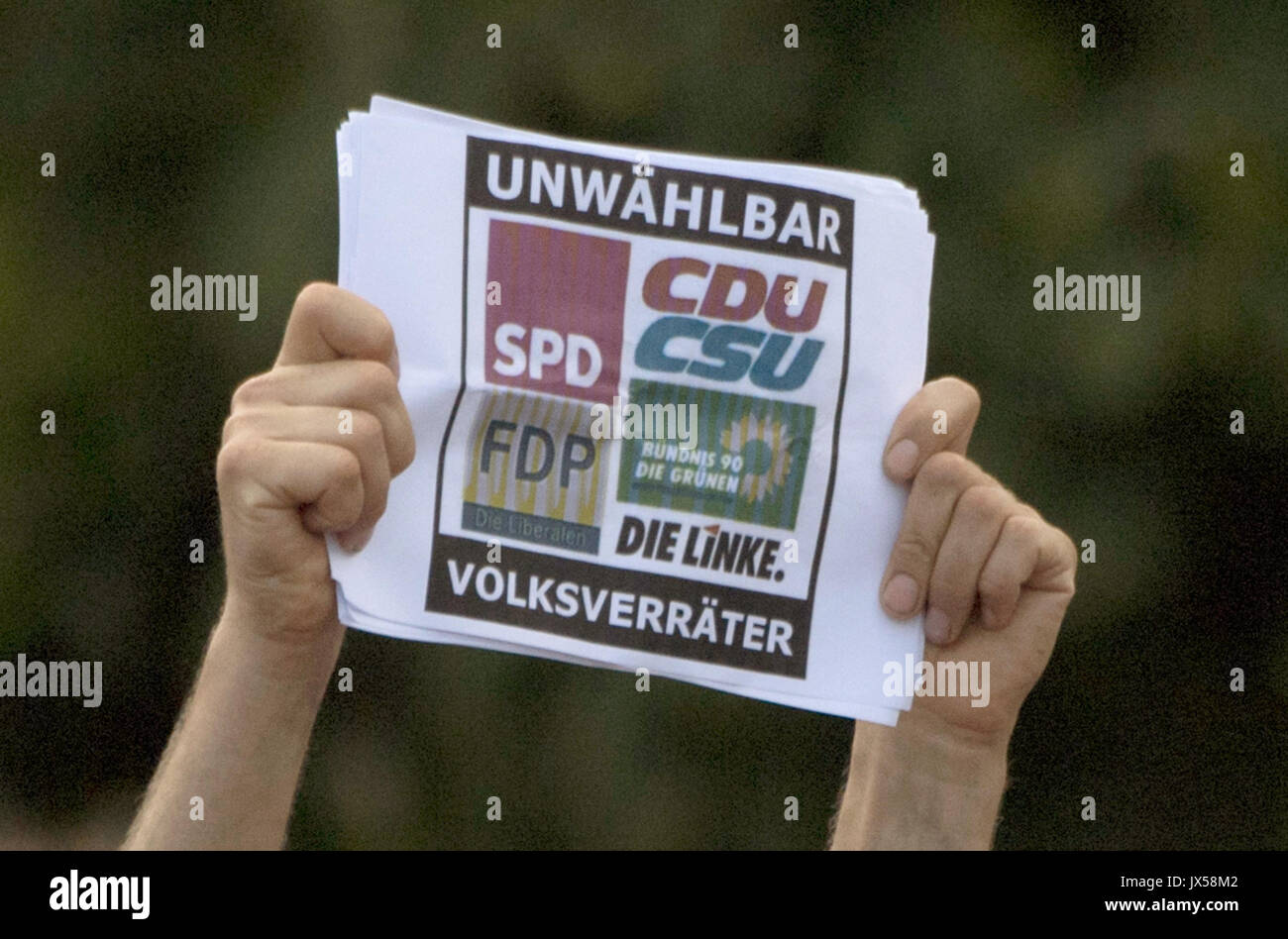 Gelnhausen, Germany. 14th Aug, 2017. A protestor holds up a sign saying 'Volksverraeter' (lit. betrayer of the nation) Stock Photo