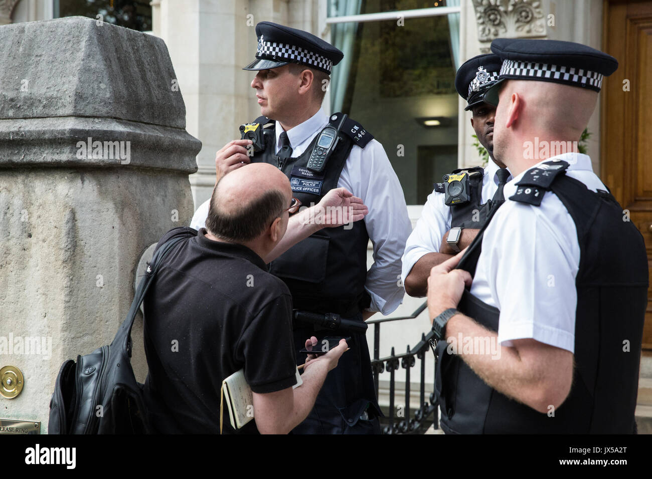 London, UK. 14th August, 2017. A journalist is refused admission to the AGM of British mining company Vedanta. Credit: Mark Kerrison/Alamy Live News - Stock Image
