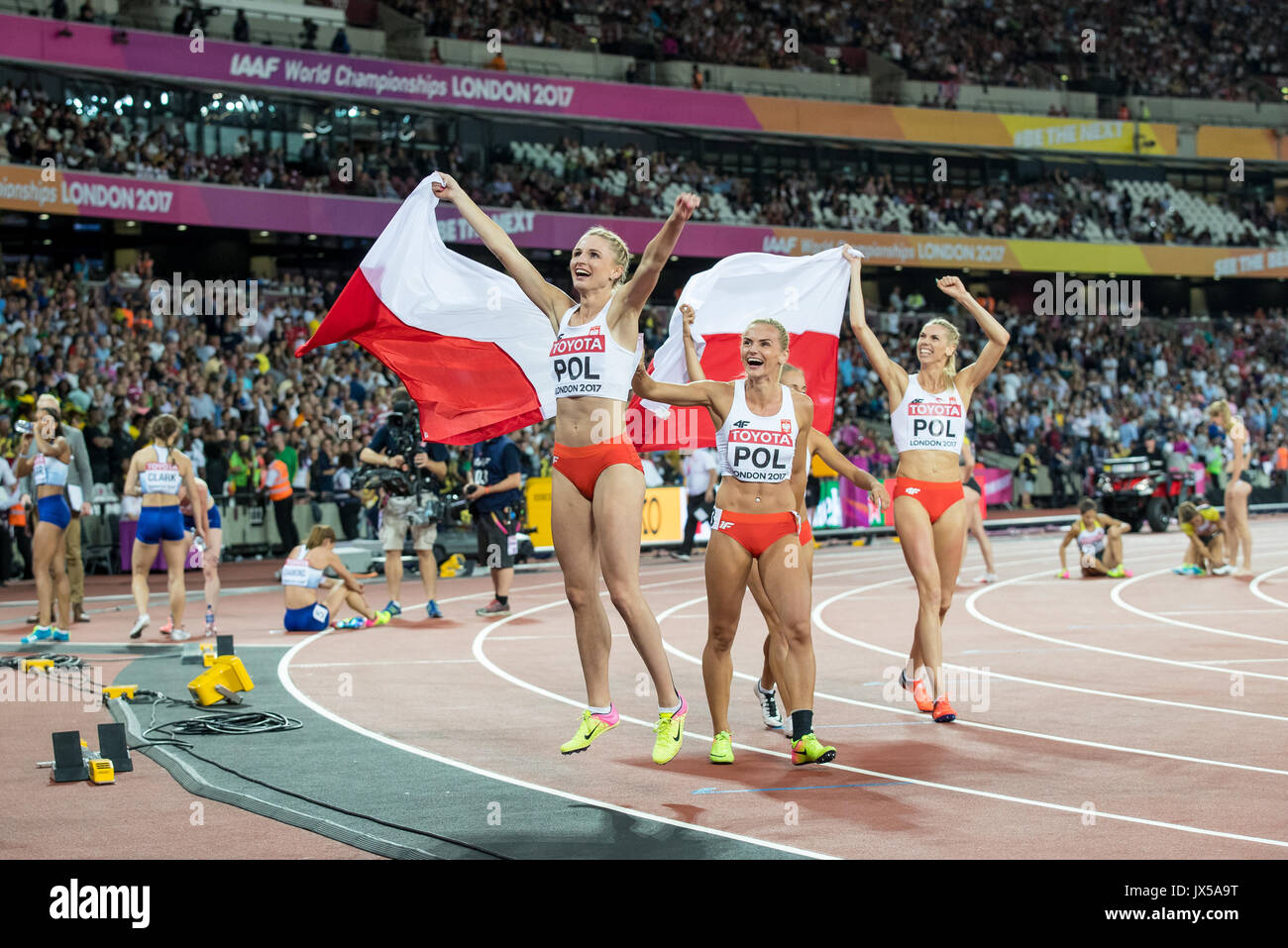 London, UK. 13th Aug, 2017. The Polish Women's 4x400 metre relay team celebrate coming 3rd to claim Bronze medals during the Final Day of the IAAF World Athletics Championships (Day 10) at the Olympic Park, London, England on 13 August 2017. Photo by Andy Rowland/PRiME Media Images. Credit: Andrew Rowland/Alamy Live News - Stock Image