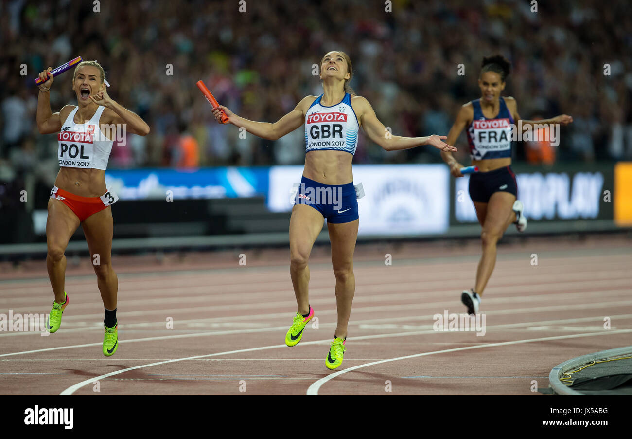 London, UK. 13th Aug, 2017. Emily Diamond of Great Britain crosses the finish line to win silver ahead of Justyna Swiety of Poland (Bronze) in the Women's 4x400 Metres Relay final during the Final Day of the IAAF World Athletics Championships (Day 10) at the Olympic Park, London, England on 13 August 2017. Photo by Andy Rowland/PRiME Media Images. Credit: Andrew Rowland/Alamy Live News - Stock Image