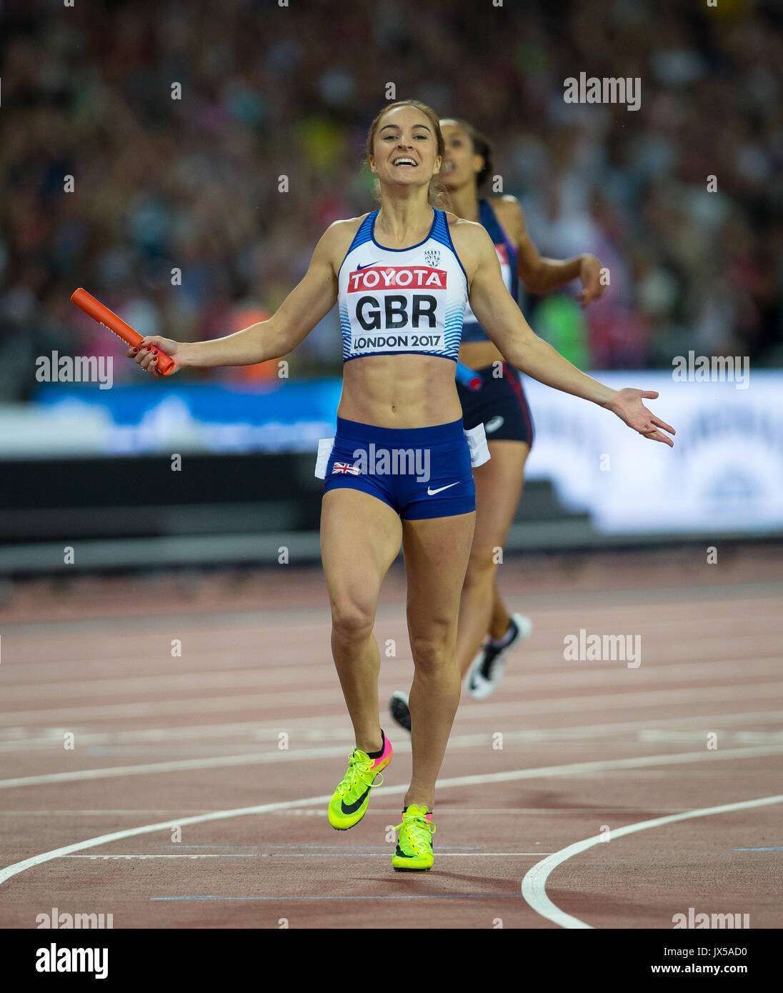 London, UK. 13th Aug, 2017. Emily Diamond of Great Britain anchors her team to silver during the Women's 4x400m Relay final during the Final Day of the IAAF World Athletics Championships (Day 10) at the Olympic Park, London, England on 13 August 2017. Photo by Andy Rowland/PRiME Media Images. Credit: Andrew Rowland/Alamy Live News - Stock Image