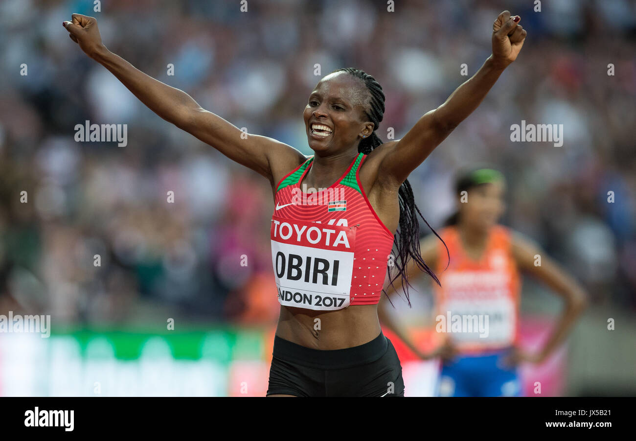 HELLEN ONSANDO OBIRI of Kenya celebrates winning her Gold Medal in the 5000m metres after winning the final in a time of 14.34.86 during the Final Day of the IAAF World Athletics Championships (Day 10) at the Olympic Park, London, England on 13 August 2017. Photo by Andy Rowland / PRiME Media Images. - Stock Image