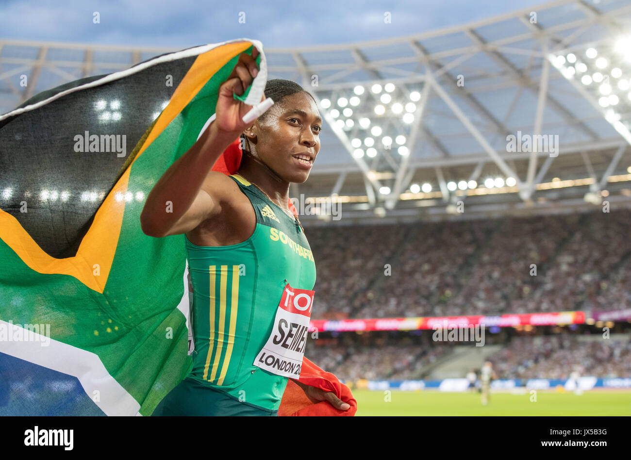 Caster SEMENYA of South Africa celebrates winning her Gold Medal in the Women's 800 metres Final during the Final Day of the IAAF World Athletics Championships (Day 10) at the Olympic Park, London, England on 13 August 2017. Photo by Andy Rowland / PRiME Media Images. - Stock Image