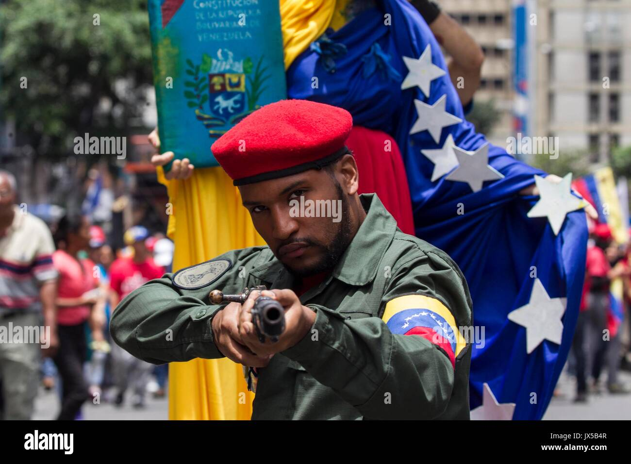 Caracas, Venezuela. 14th Aug, 2017. A man participate in an 'anti-imperialist' march in  Venezuelan President Nicolas Maduro asked that the 'homeland sellers' have asked for an intervention in the country and have supported the 'US' threat be prosecuted by the National Constituent Assembly. EFE/NATHALIE SAYAGO Credit: EFE News Agency/Alamy Live News - Stock Image