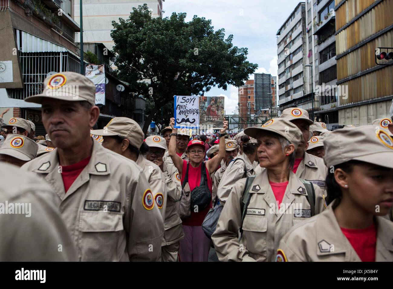 Caracas, Venezuela. 14th Aug, 2017. A view of an 'anti-imperialist' march in  Venezuelan President Nicolas Maduro asked that the 'homeland sellers' have asked for an intervention in the country and have supported the 'US' threat be prosecuted by the National Constituent Assembly. EFE/NATHALIE SAYAGO Credit: EFE News Agency/Alamy Live News - Stock Image