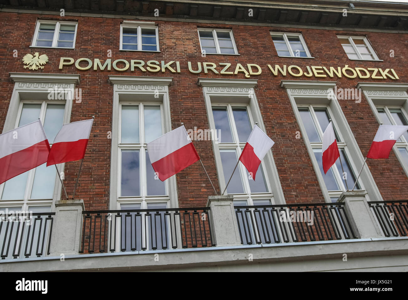 Gdansk, Poland. 15th August, 2017. PO (Civic Platform) Parliament members: Slawomir Neumann, Stanislaw Lamczyk and Marshal of the Pomorskie Voivodeship Mieczyslaw Struk during the press conference are seen in Gdansk, Poland on 15 August 2017  . Opposition politicians accuse the government of inactivity and lack of proper assistance to victims of the violent storms that hit Poland last weekend. Credit: Michal Fludra/Alamy Live News - Stock Image