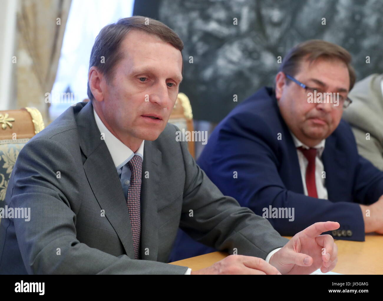 Moscow, Russia. 15th Aug, 2017. Russia's Foreign Intelligence Service Head, Russian Historical Society Chairman Sergei Naryshkin (L) and Director of the Institute of Russian History of the Russian Academy of Sciences, Istoriya Otechestva Foundation Council's presidium member Yuri Petrov attend a meeting of the Istoriya Otechestva [History of Fatherland] Foundation Council at the House of the Russian Historical Society. Credit: Stanislav Krasilnikov/TASS/Alamy Live News - Stock Image