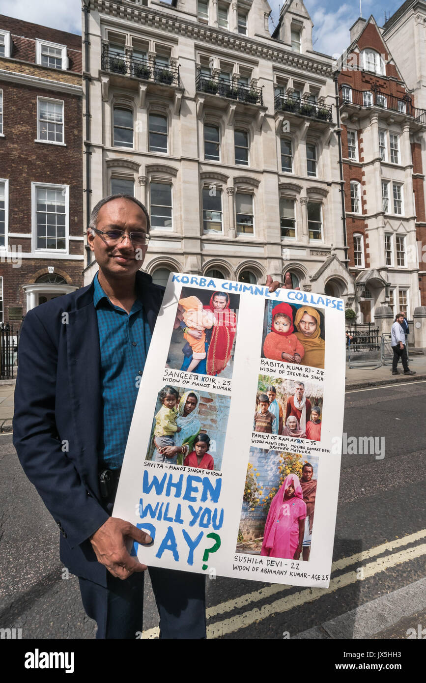 London, UK. 14th Aug, 2017. London, UK. 14th August 2017. A lawyer who visited Korba 3 months after the disatrous Stock Photo