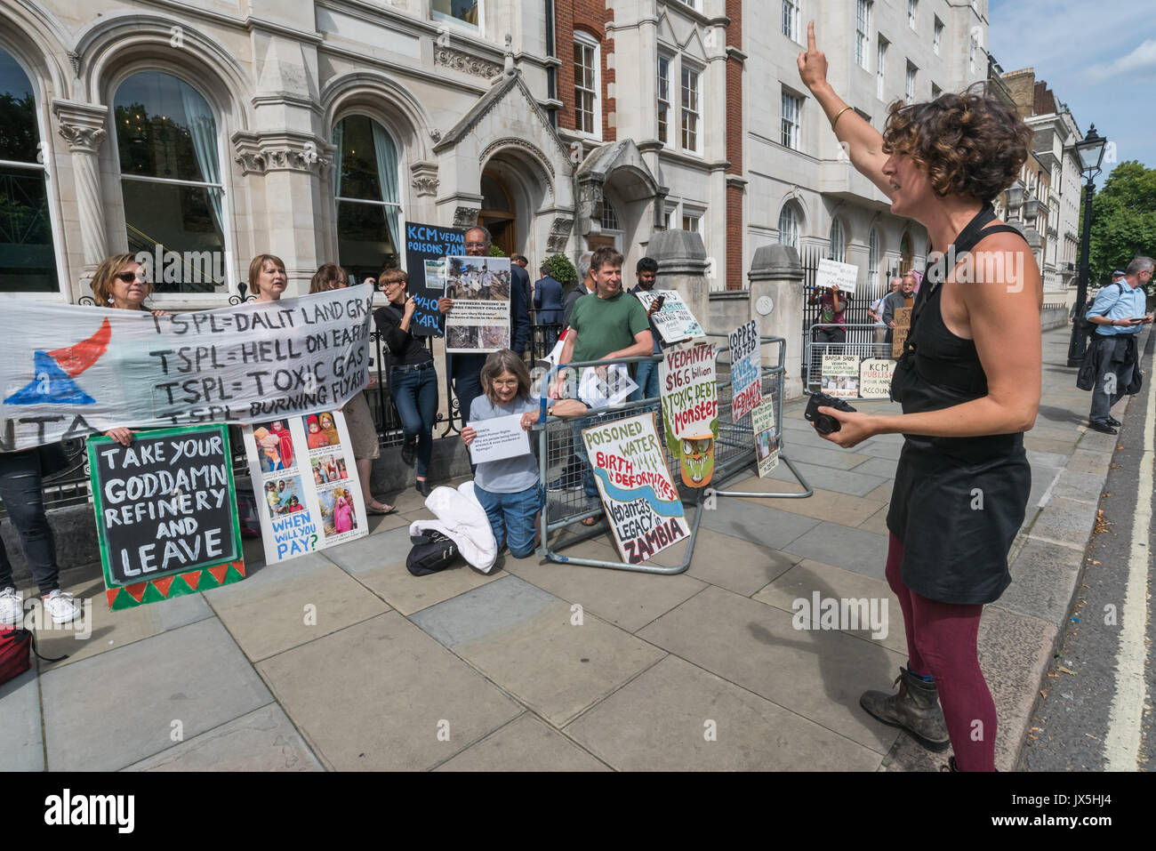 London, UK. 14th Aug, 2017. London, UK. 14th August 2017. Grass roots campaign Foil Vedanta hold a noisy protest outside the AGM of Vedanta. They accuse Vedanta of illegal mining in Goa, of increasing harassment, torture and false accusations against tribal activists in Nyamgiri, Odisha, who have used Indian laws to stop bauxite mining of their sacred mountain, eleven years of ruinous and continuing pollution by Konkola Copper Mines (KCM) in Zambia, where they say the company have fraudulently avoided taxes and failed to publish mandatory accounts and other offences. Vedanta is a FTSE 250 - Stock Image