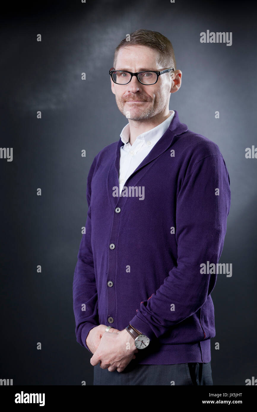Edinburgh, UK. 15th Aug, 2017. Kevin MacNeil, the Scottish novelist, appearing at the Edinburgh International Book Stock Photo