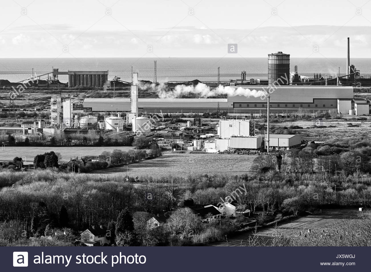 The Tata steel works and British Oxygen company BOC in Margam near Port Talbot South Wales UK - Stock Image
