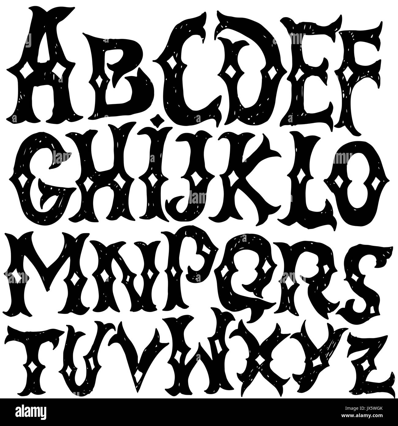Antique Alphabet Gothic Letters Vintage Hand Drawn Font Western Vector Grunge Lettering