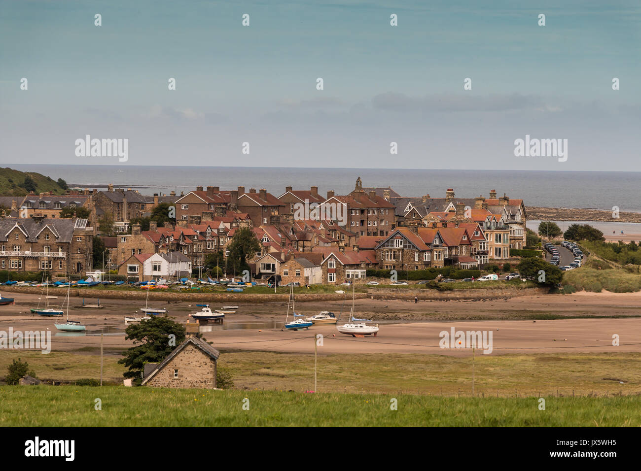 Alnmouth Village and Harbour, Northumberland Coast, UK with copy space - Stock Image
