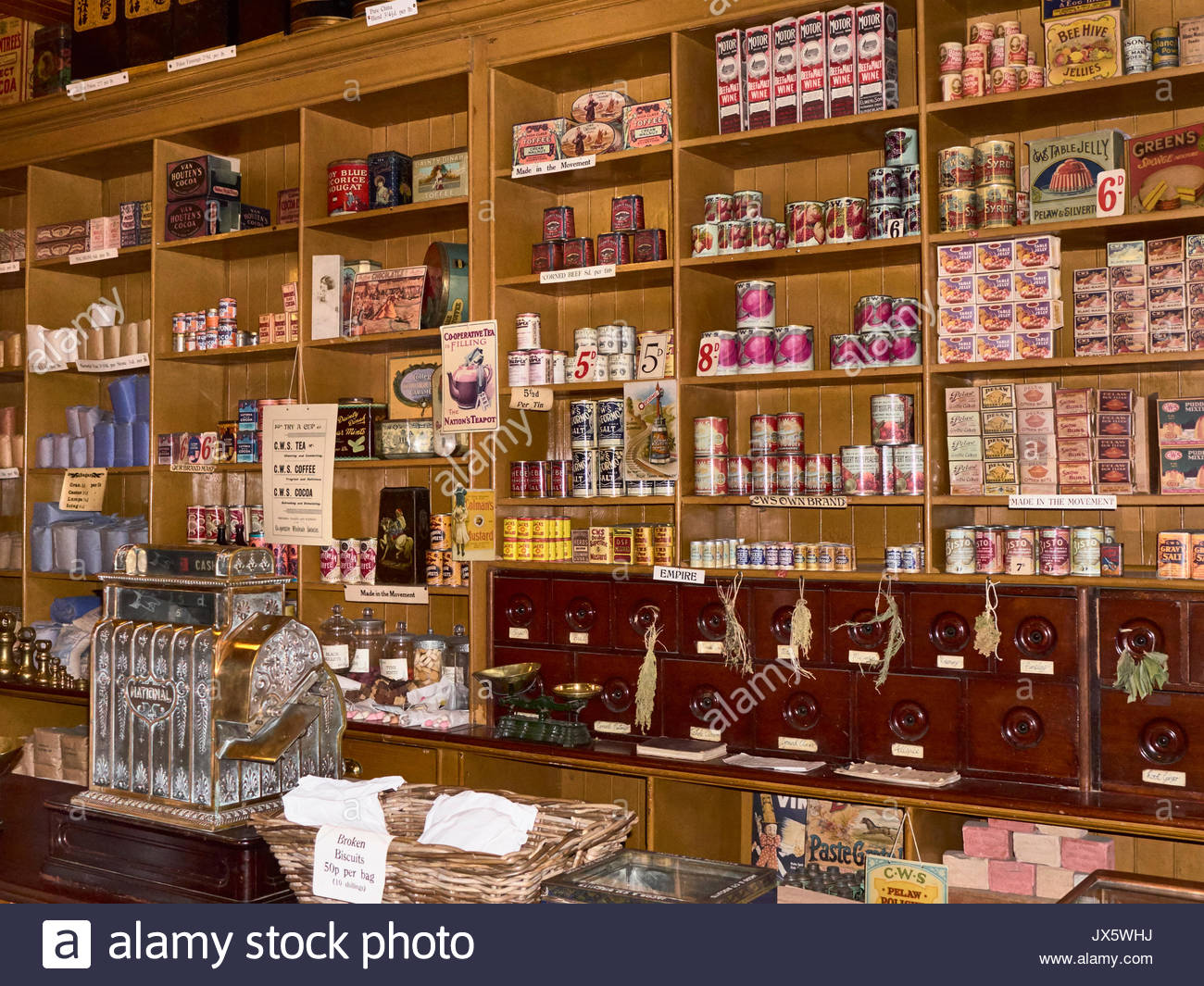 The stacked shelves in a Co-operative store in the 1900s in Beamish open air outdoor museum in Durham England UK - Stock Image
