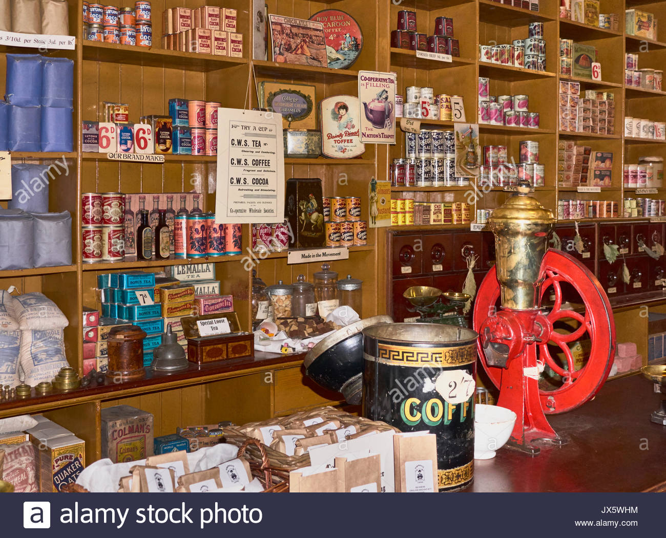 The stacked shelves in a Co-operative store in the 1900s in Beamish open air outdoor museum in Durham England UK Stock Photo