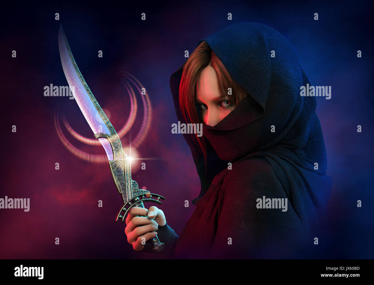 3d computer graphics of a  wrapped female assassin with a dagger - Stock Image