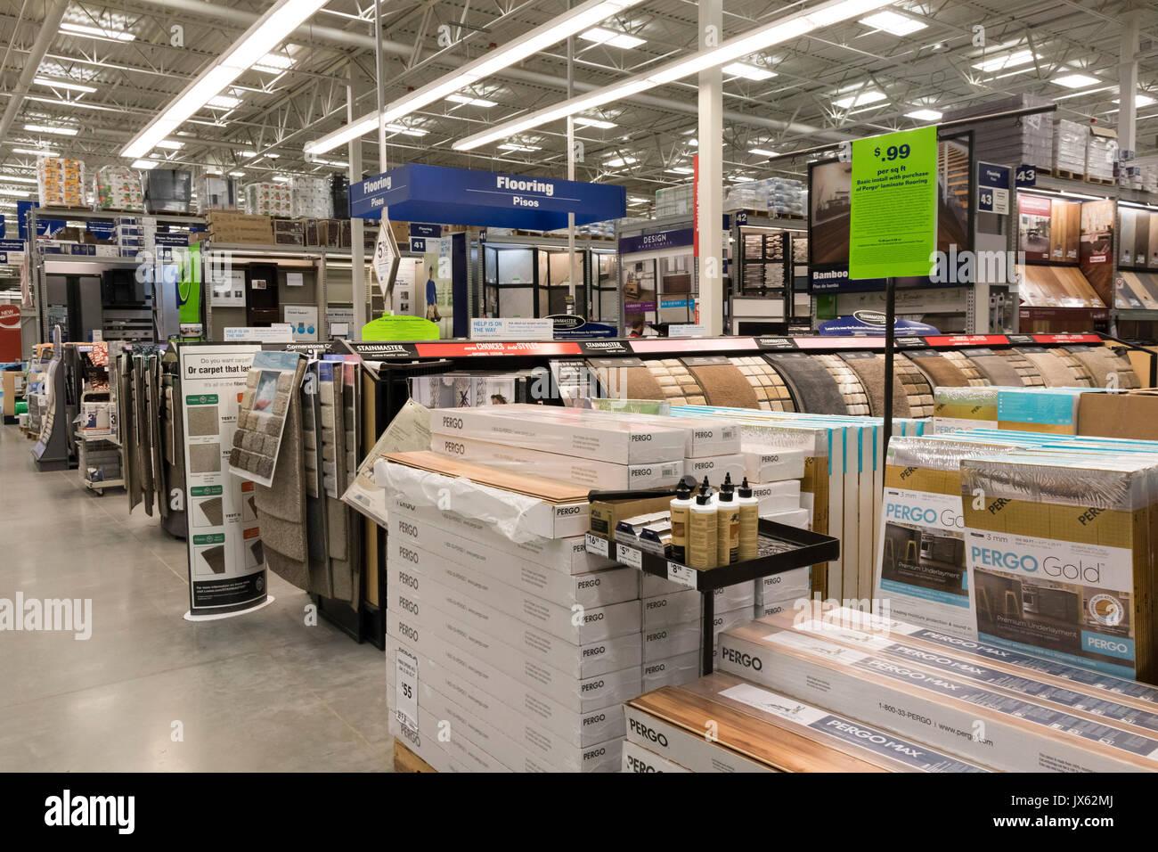flooring materials, Lowe's hardware store, Pasco, Washington State, USA - Stock Image