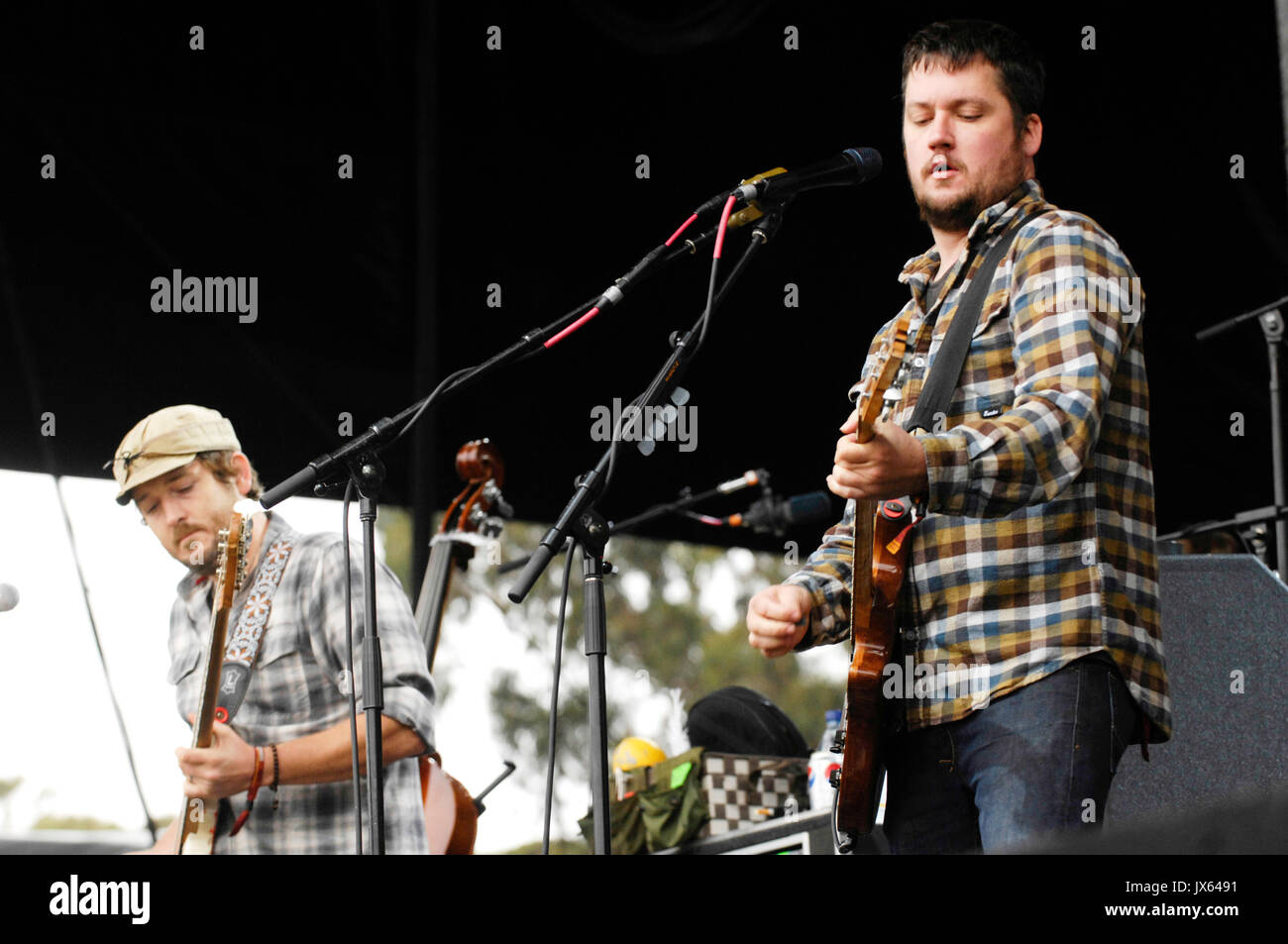 Isaac Brock (r) Modest Mouse performs 2009 Outside Lands Festival Golden Gate Park August 30,2009 San Francisco. - Stock Image