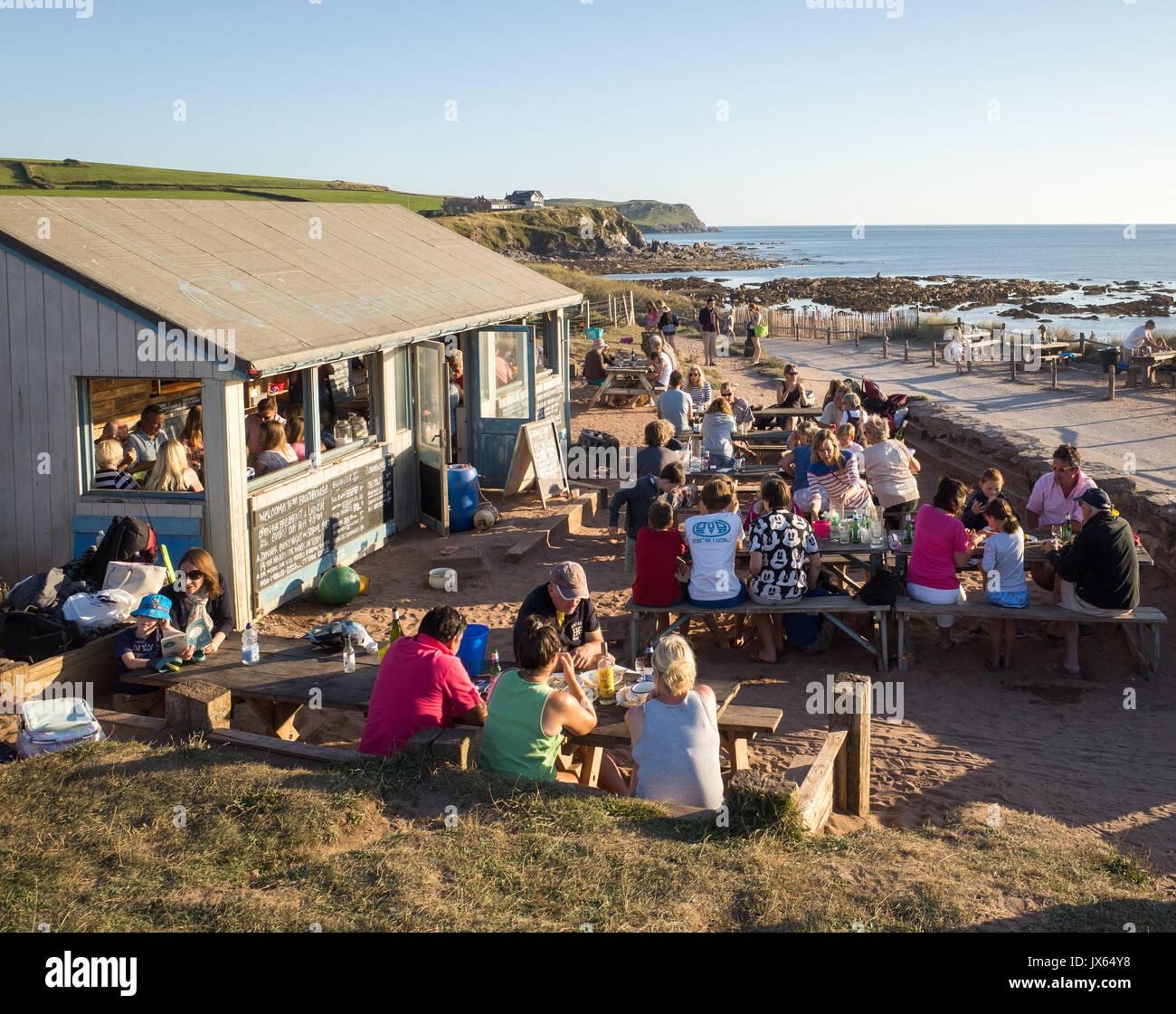 The Beach House beach cafe at South Milton Sands near Thurlestone in the South Hams in Devon Stock Photo