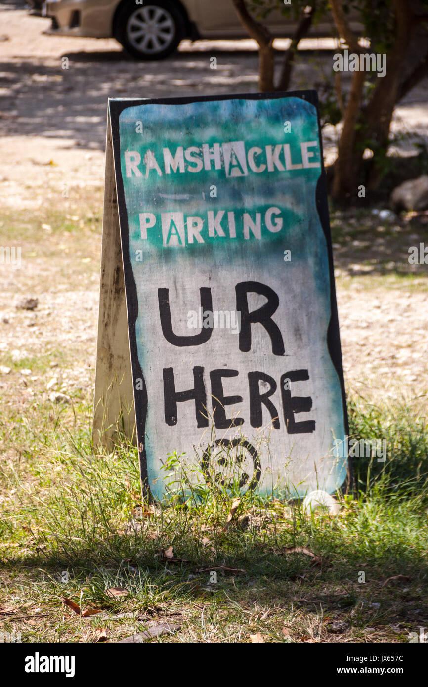 Parking lot Barbados, Caribbean Isles. Parking caribbean style. - Stock Image
