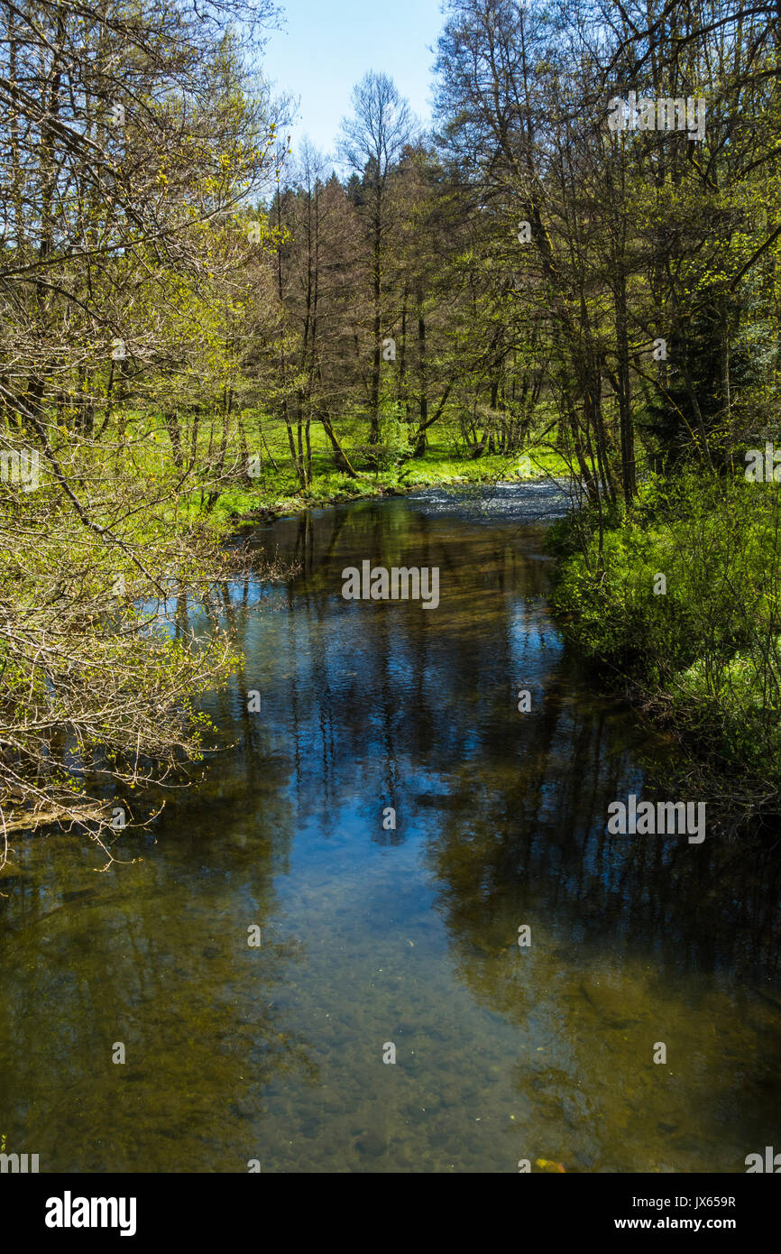 A hike in Altensteig, in the northern black forrest in the early spring along the river Nagold Stock Photo