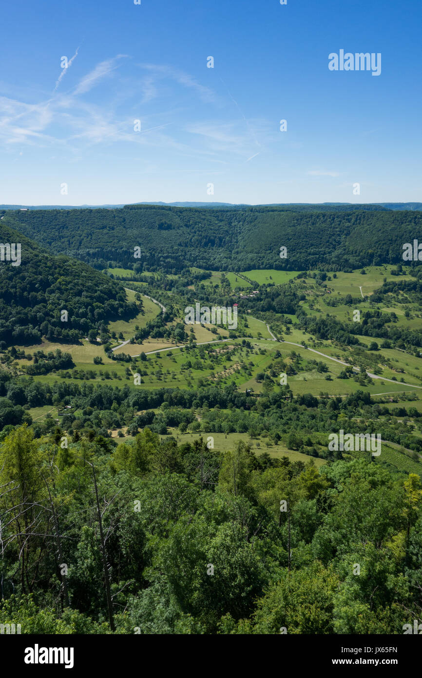 This is the view from the viewpoint of the castle Burg Hohenneuffen on a summer day with blue sky - Stock Image