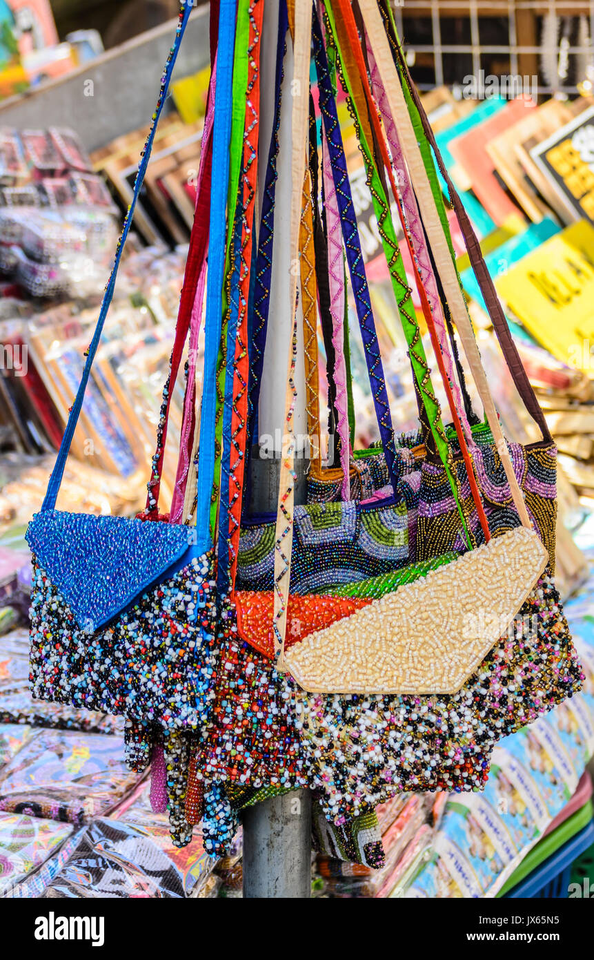 Beaded handbags for sale at the Ubud Traditional Market, Ubud, Bali. - Stock Image