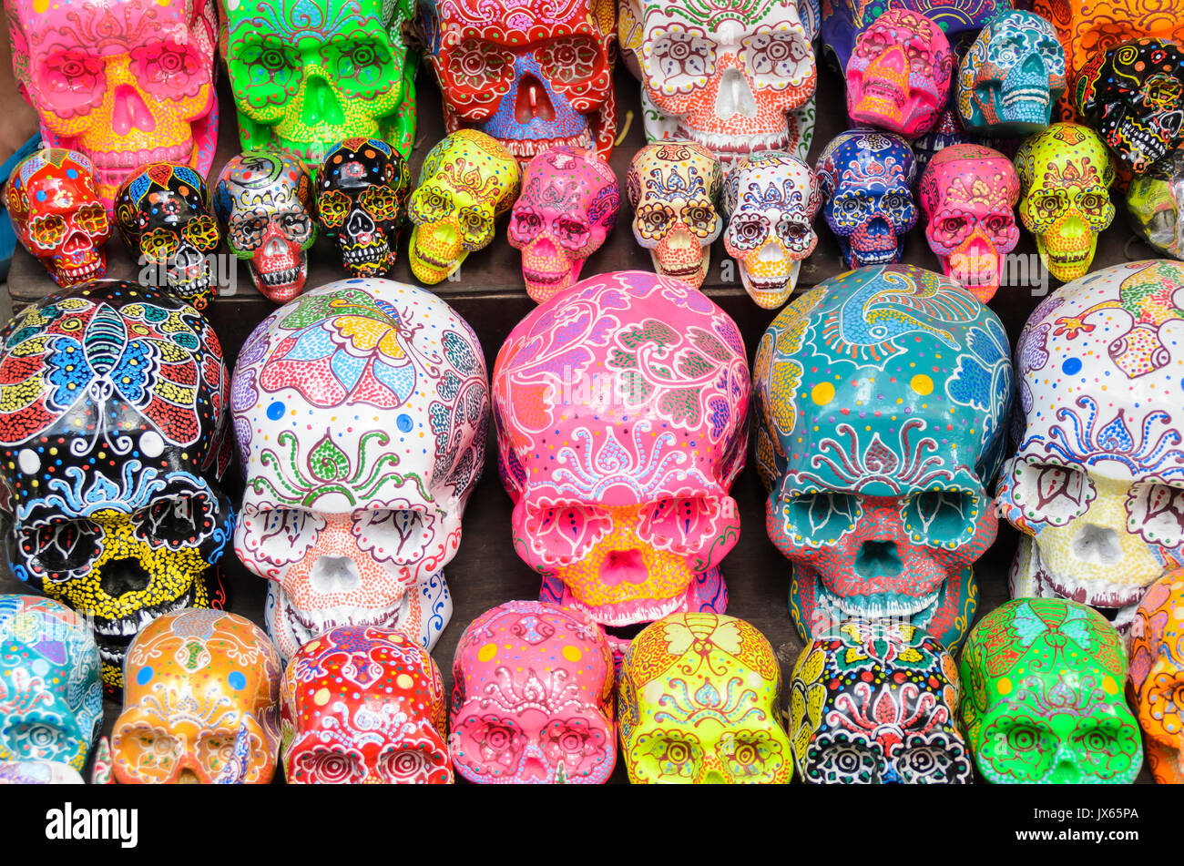 Decorative skulls for sale at the Ubud Market, Bali, Indonesia - Stock Image