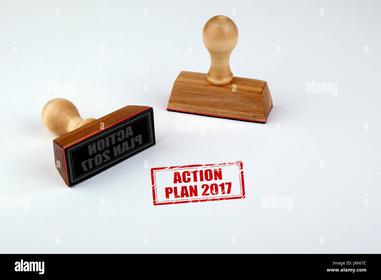 Action Plan 2017. Rubber Stamper with Wooden handle Isolated on White Background. - Stock Image