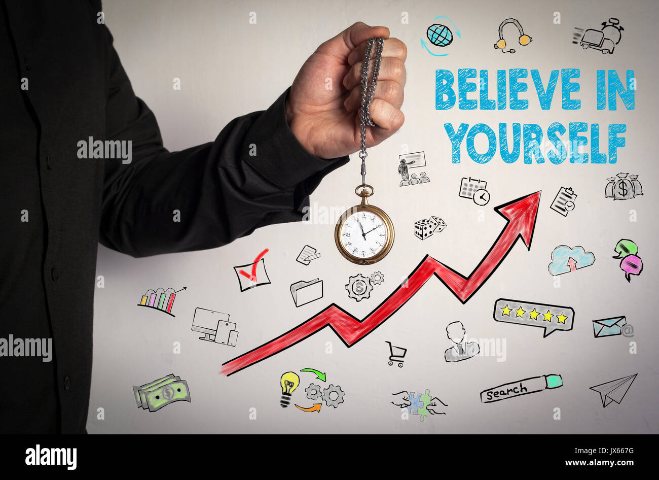 Believe In Yourself concept. Red Arrow and Icons Around. Man holding chain clock on white background. - Stock Image