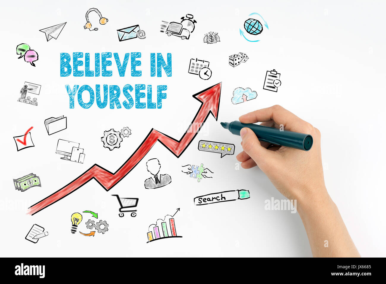Believe In Yourself Concept. Hand with marker writing. - Stock Image