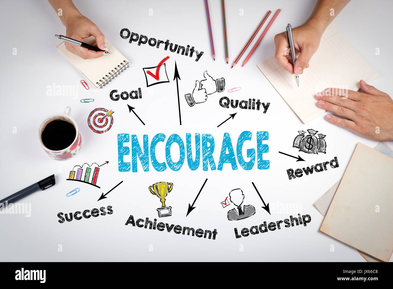Encourage Concept. The meeting at the white office table. - Stock Image