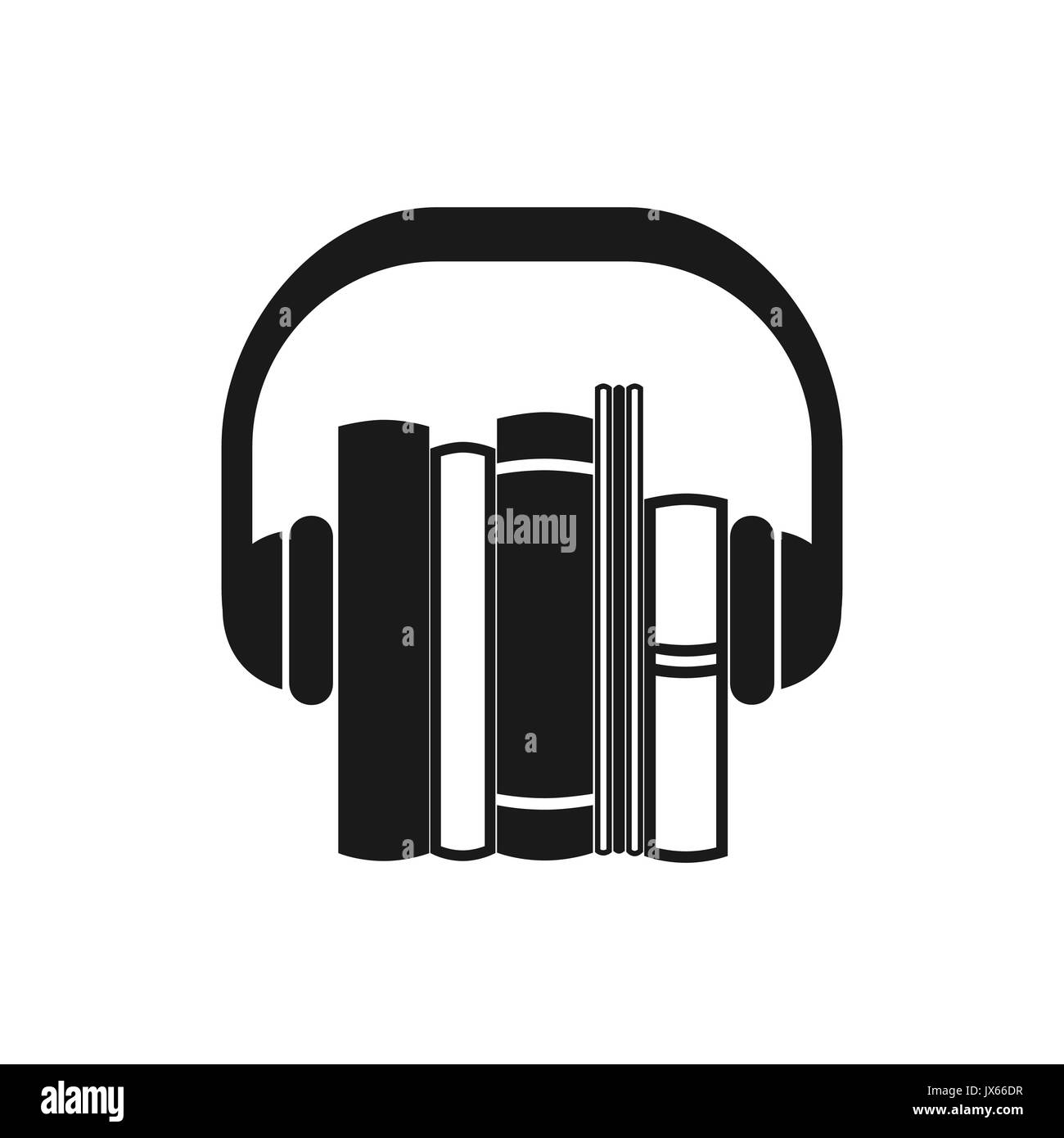 Audiobooks black icon. Monochrome vector emblem of books with headphone. Stock Vector