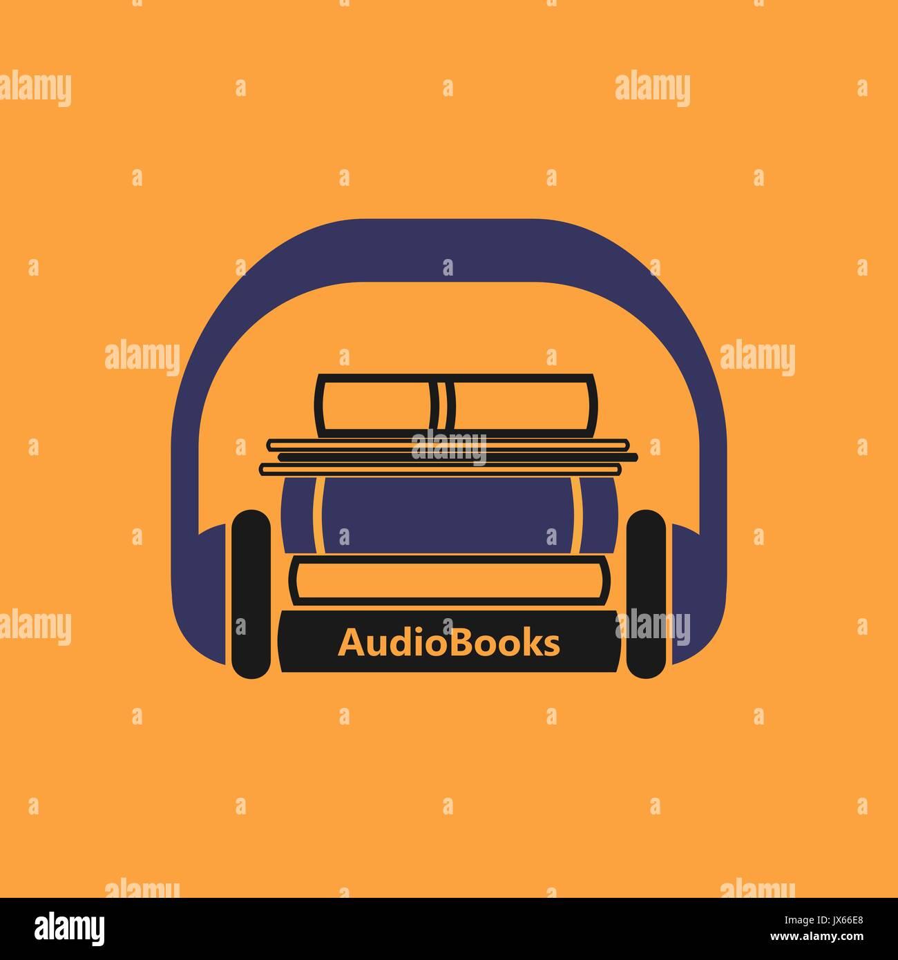 Audiobooks logo. Stylized vector emblem of books with headphone on a orange background. Stock Vector