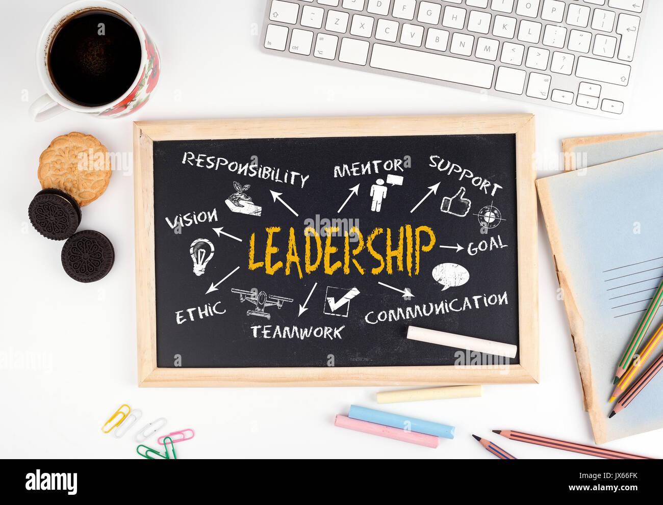 Leadership concept. Chalkboard on white office desk. - Stock Image