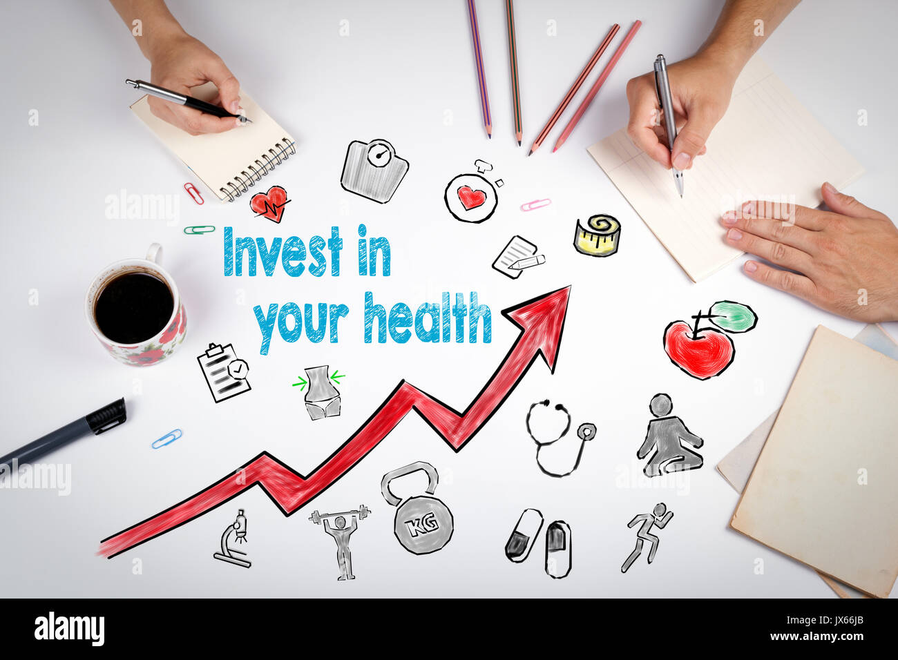Invest in your health concept. Healty lifestyle background. The meeting at the white office table. - Stock Image