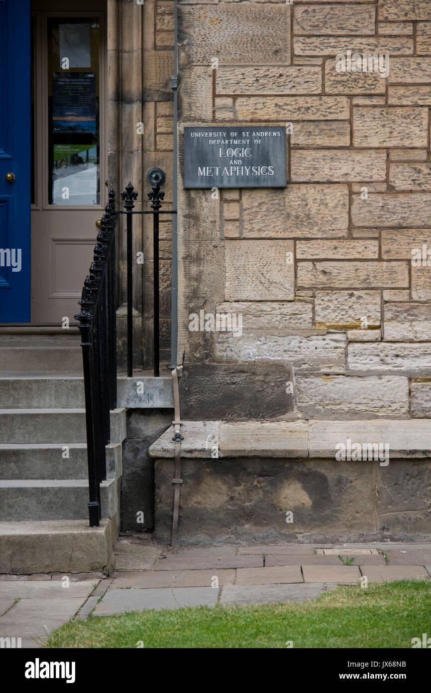 Sign for the Department of Logic and Metaphysics at the University of St Andrews, Fife. - Stock Image