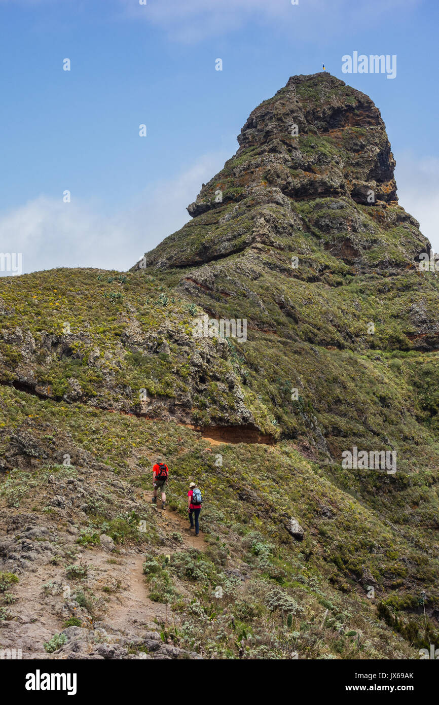 Hiking trip in the Anaga Mountains near Taborno on Tenerife Island with a lot of wide views over the sea and the Stock Photo