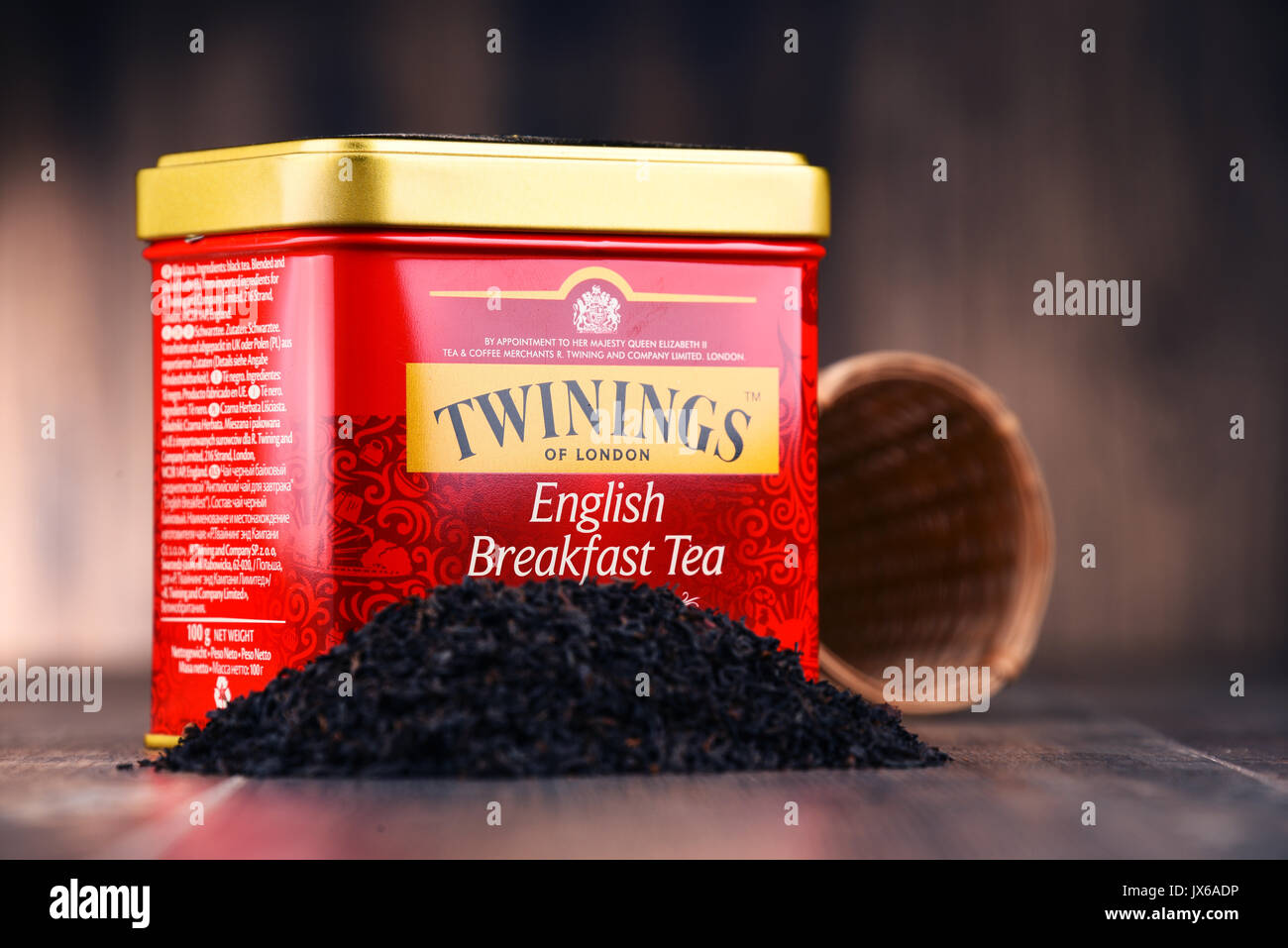 POZNAN, POLAND - JULY 7, 2017: Twinings is an English marketer of tea, located in Andover, Hampshire. The brand is owned by Associated British Foods. - Stock Image