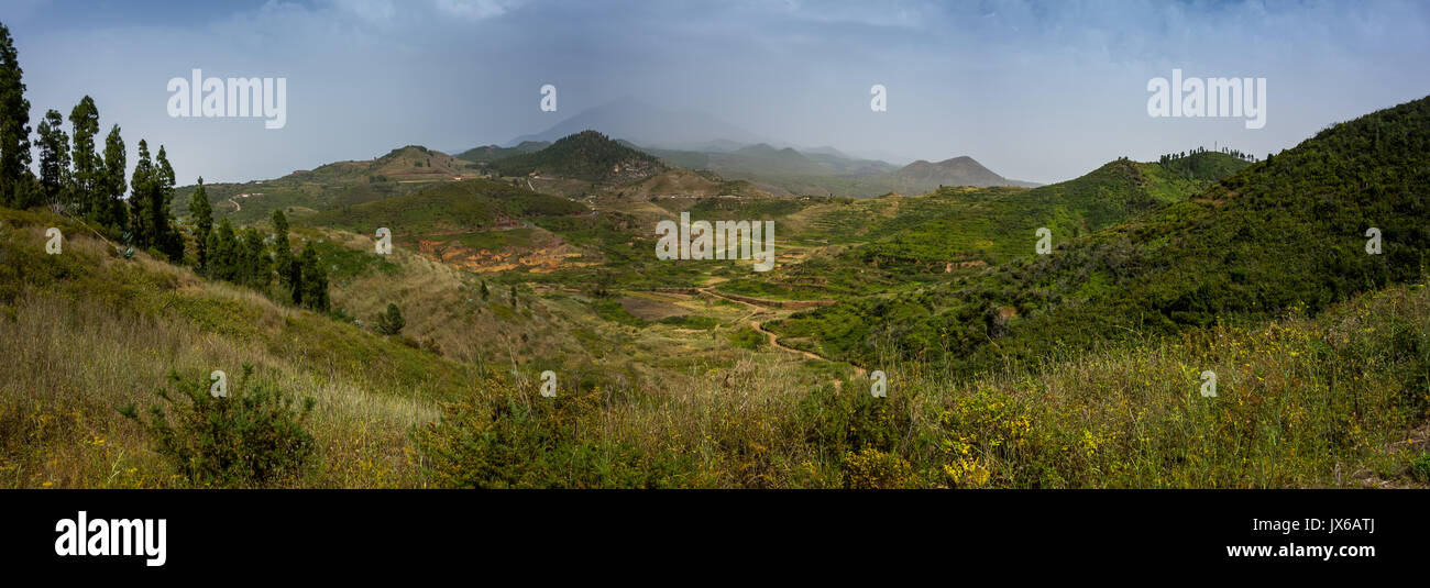 Views on a hiking trail near Erjos on Tenerife island above the clouds - Stock Image